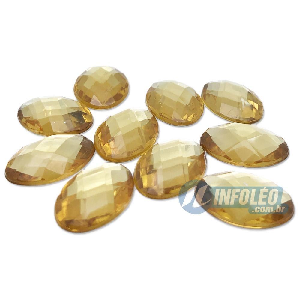 Chaton Acrilico Oval 13x18mm Amarelo Ouro - 10 unidades