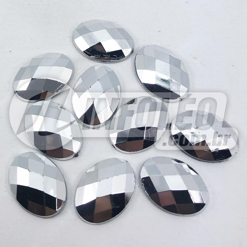 Chaton Acrilico Oval 13x18mm Prata Espelhado - 10 unidades
