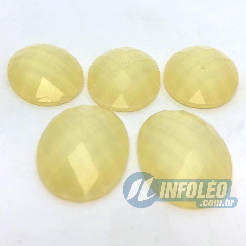 Chaton Acrilico Oval 18x25mm Amarelo Água C/ Glitter - 5 unidades