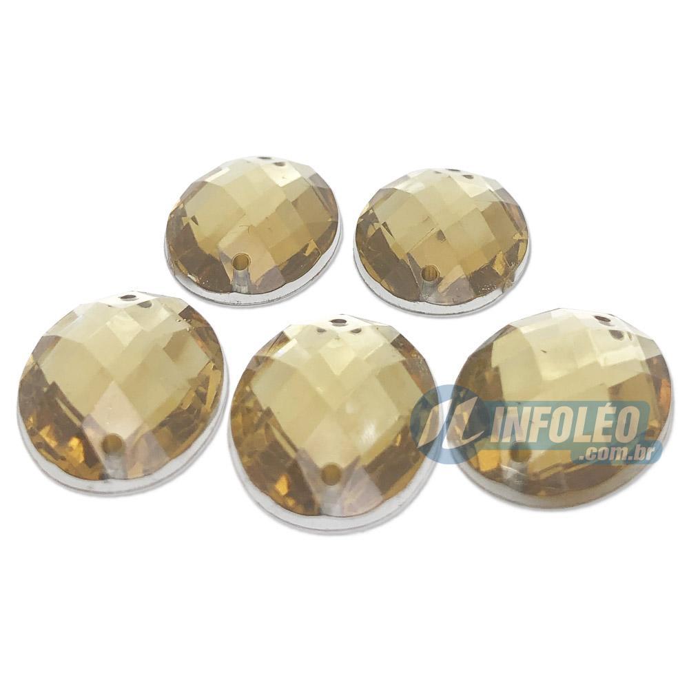 Chaton Acrilico Oval 18x25mm Amarelo C/ Furo P/ Costura - 5 unidades