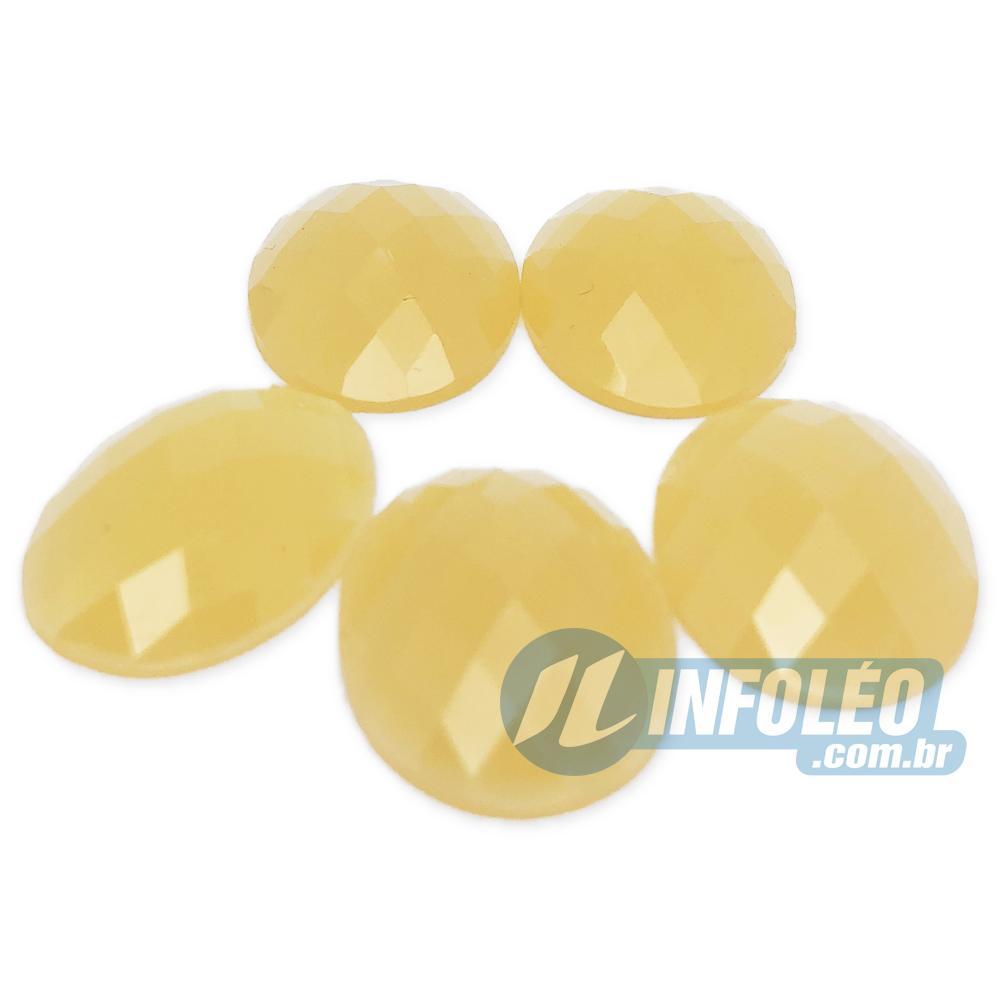 Chaton Acrilico Oval 18x25mm Amarelo Escuro LB0037 - 5 unidades