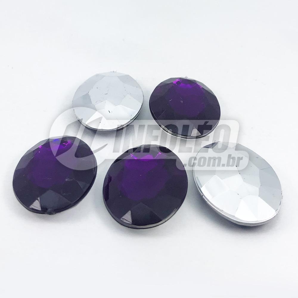 Chaton Acrilico Oval 18x25mm Dupla Face Roxo e Prata - 5 unidades