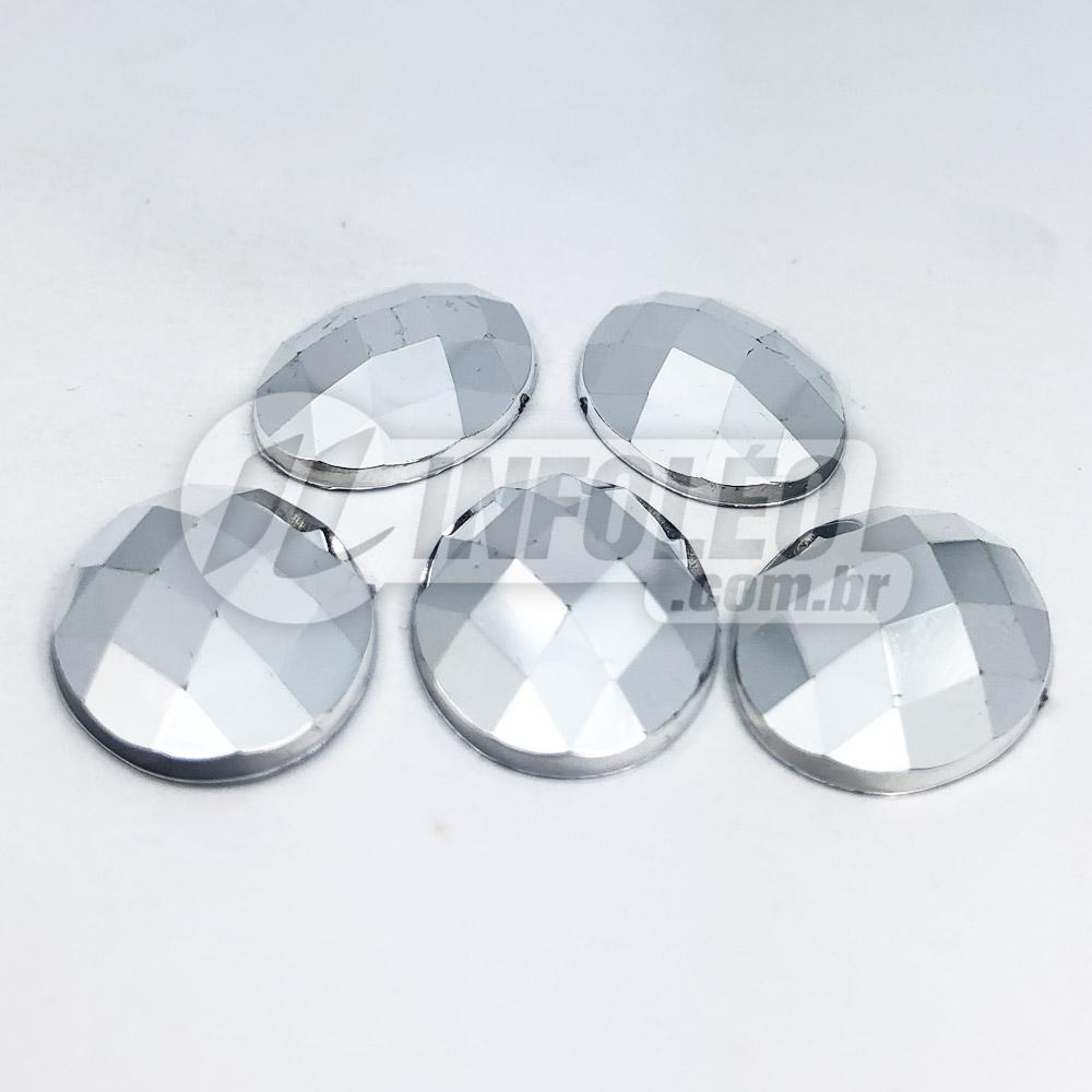 Chaton Acrilico Oval 18x25mm Prata Espelhado - 5 unidades
