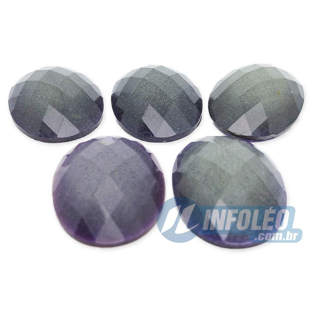 Chaton Acrilico Oval 18x25mm Roxo C/ Glitter - 5 unidades
