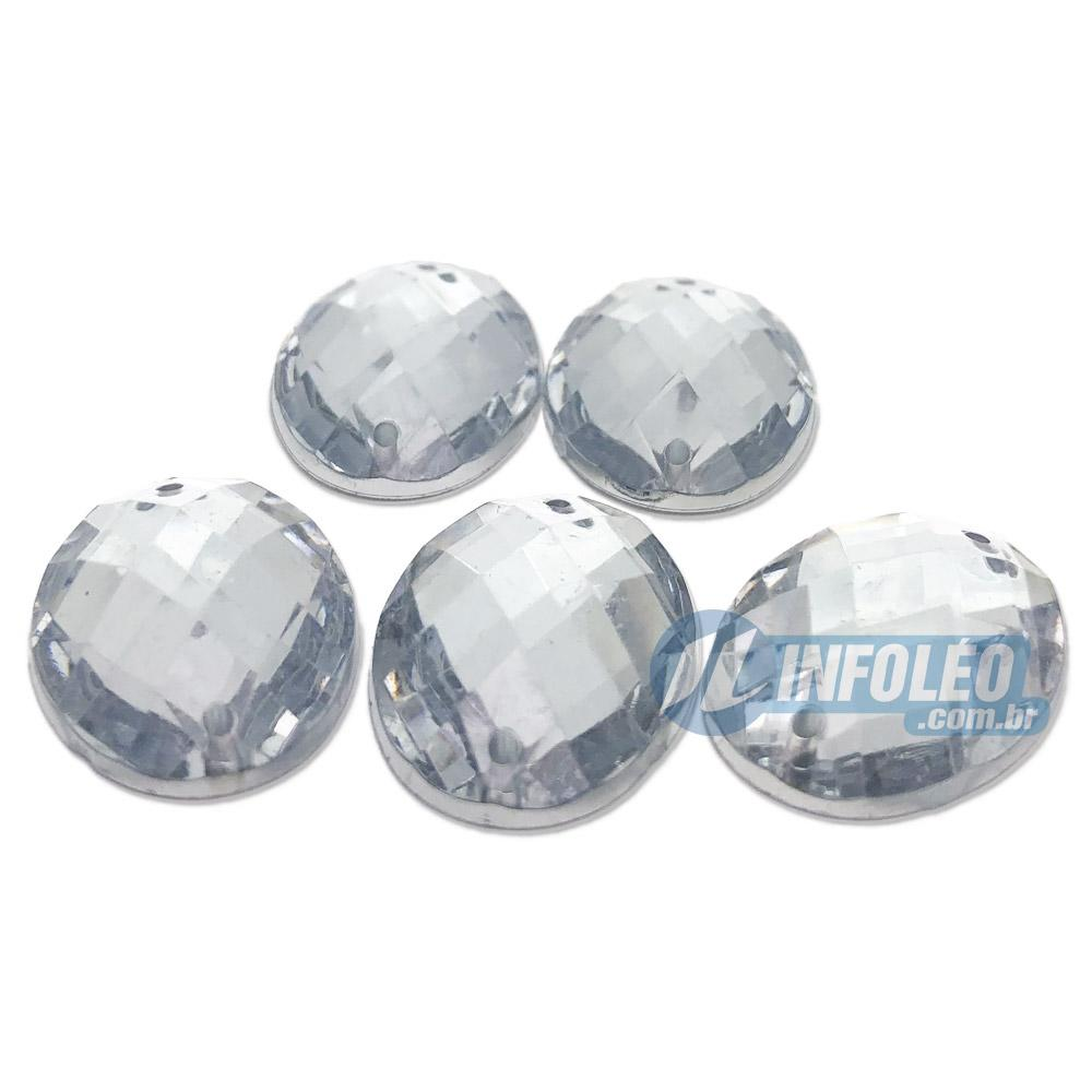 Chaton Acrilico Oval 18x25mm Transparente C/ Furo P/ Costura - 5 unidades