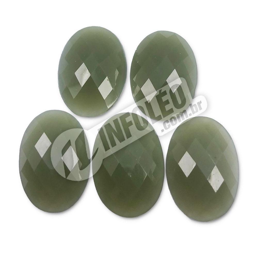 Chaton Acrilico Oval 18x25mm Verde Fosco - 5 unidades