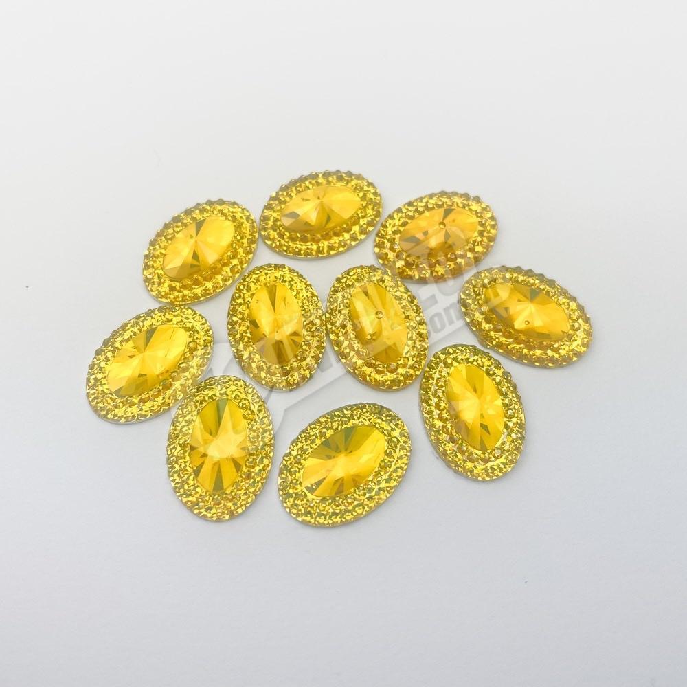 Chaton Acrilico Oval C/ Borda 13x18mm Amarelo - 10 unidades