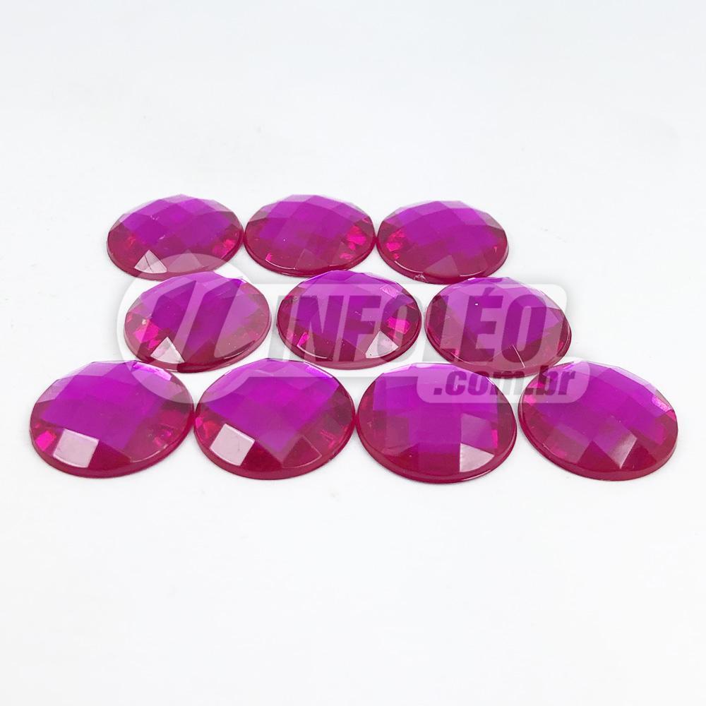 Chaton Acrilico Redondo 16mm Rosa Pink - 10 unidades
