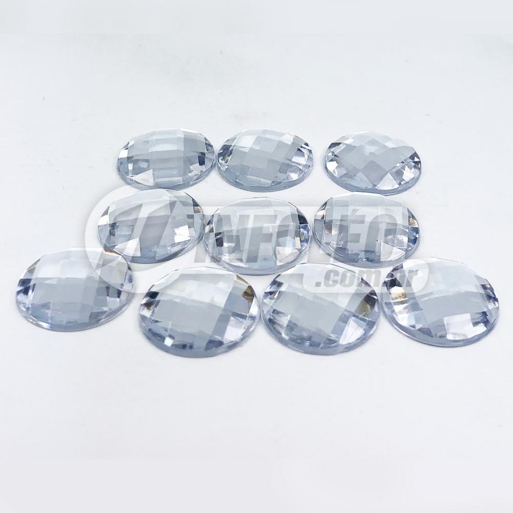 Chaton Acrilico Redondo 16mm Transparente - 10 unidades