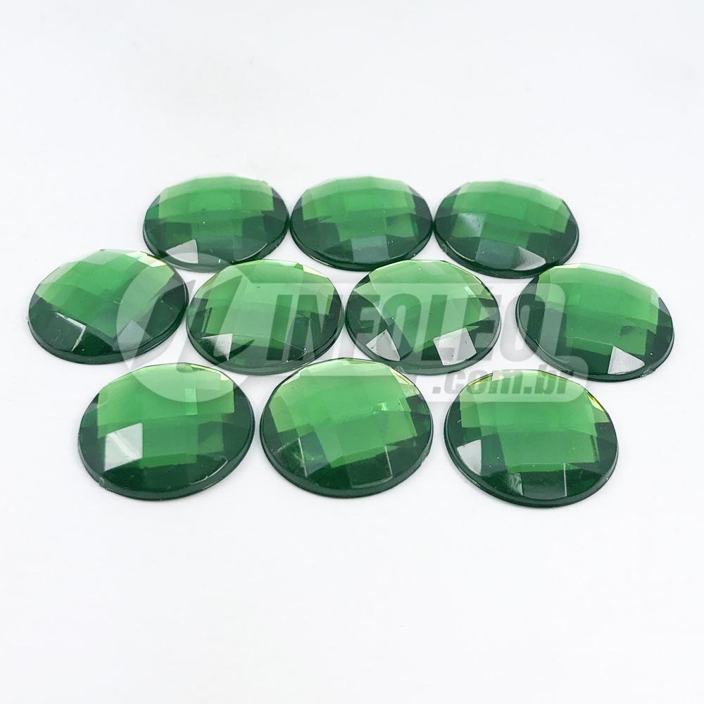 Chaton Acrilico Redondo 16mm Verde Bandeira - 10 unidades