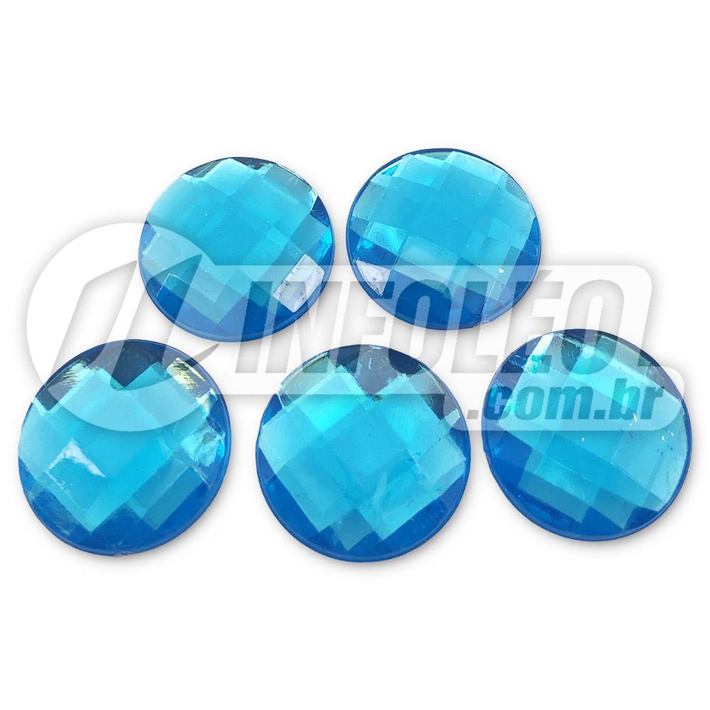 Chaton Acrilico Redondo 20mm Azul Turquesa - 5 unidades