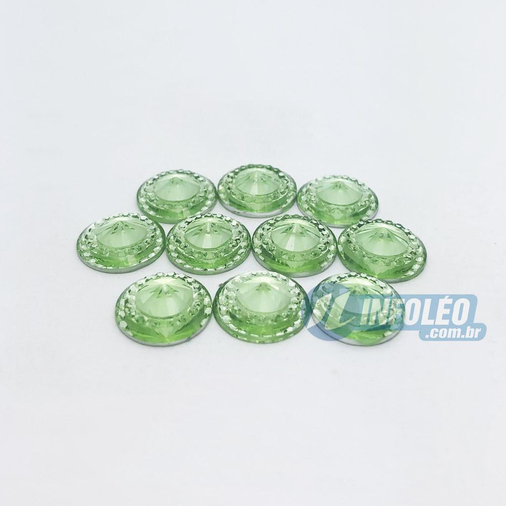 Chaton Acrilico Redondo C/ Borda 12mm Verde - 10 unidades