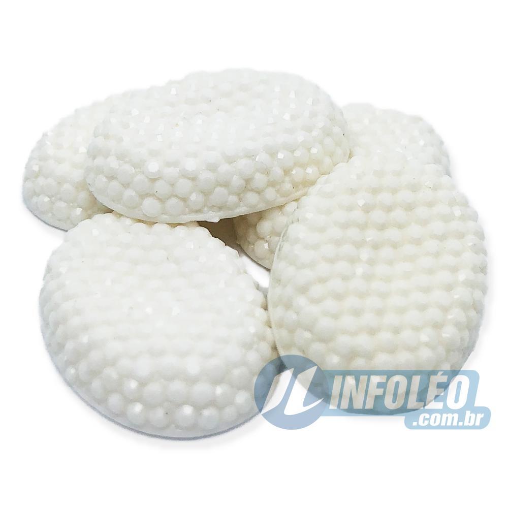 Chaton Cascudo Oval 18x25mm Branco Sem Furo LB0024 - 5 unidades