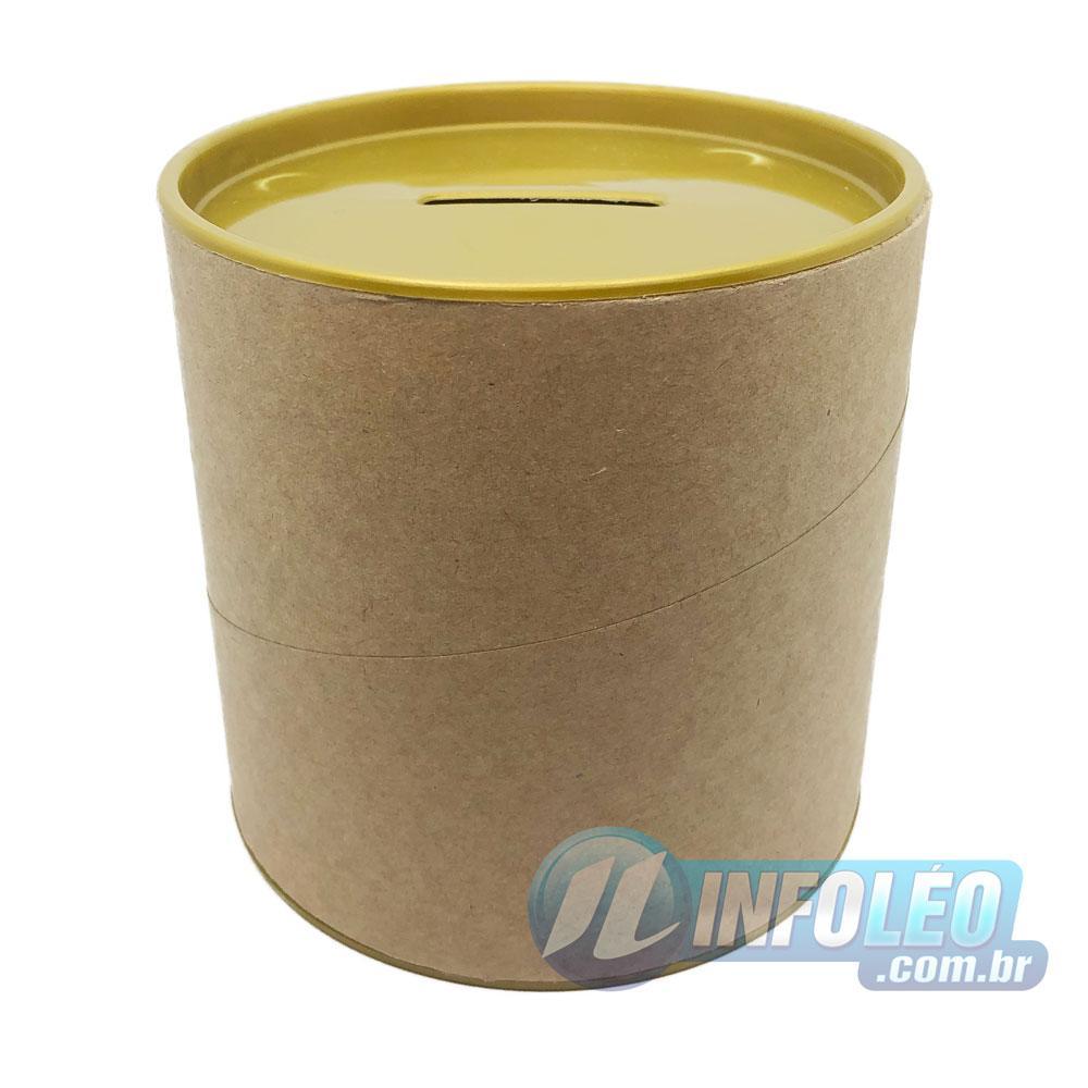 Cofrinho Papelão 10x10cm Dourado C/ Tampa de Plástico