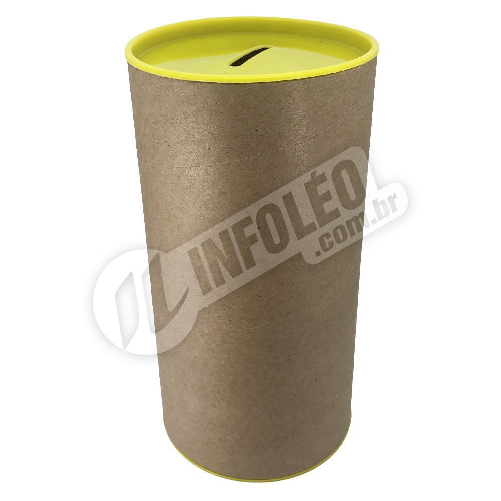 Cofrinho Papelão 10x20cm Amarelo C/ Tampa de Plástico