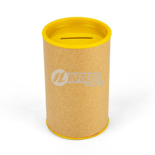 Cofrinho Papelão 6,5x10cm Amarelo C/ Tampa de Plástico