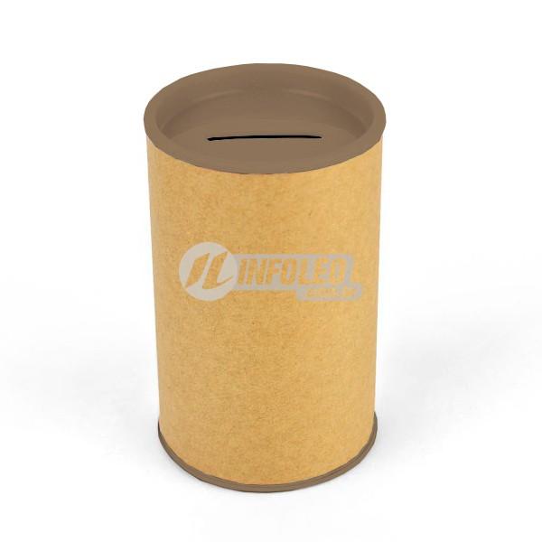 Cofrinho Papelão 6,5x10cm Marrom C/ Tampa de Plástico