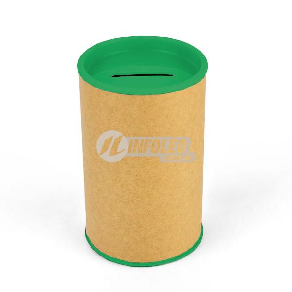 Cofrinho Papelão 6,5x10cm Verde Escuro C/ Tampa de Plástico