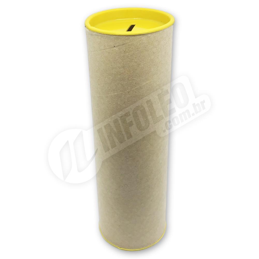 Cofrinho Papelão 6,5x20cm Amarelo C/ Tampa de Plástico