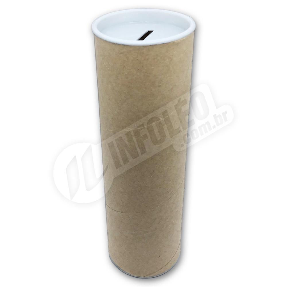 Cofrinho Papelão 6,5x20cm Branco C/ Tampa de Plástico
