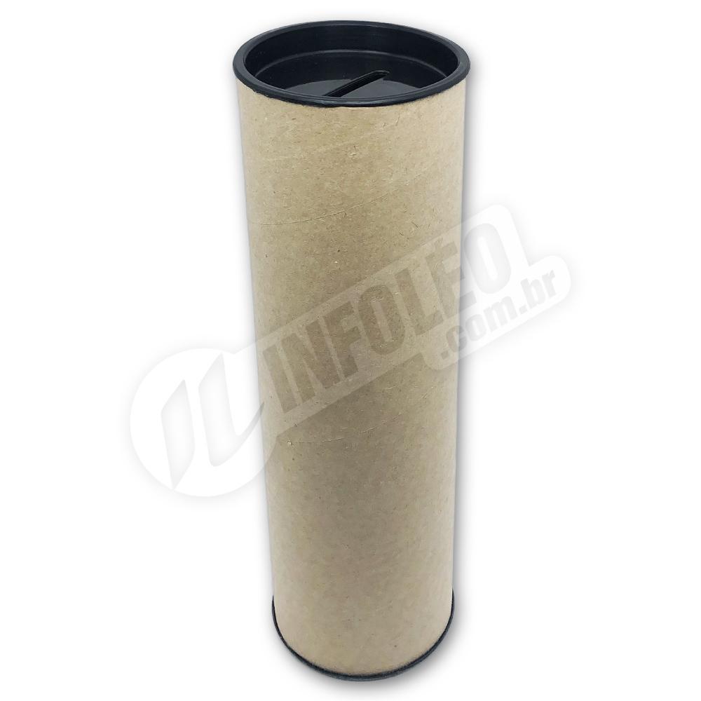 Cofrinho Papelão 6,5x20cm Preto C/ Tampa de Plástico