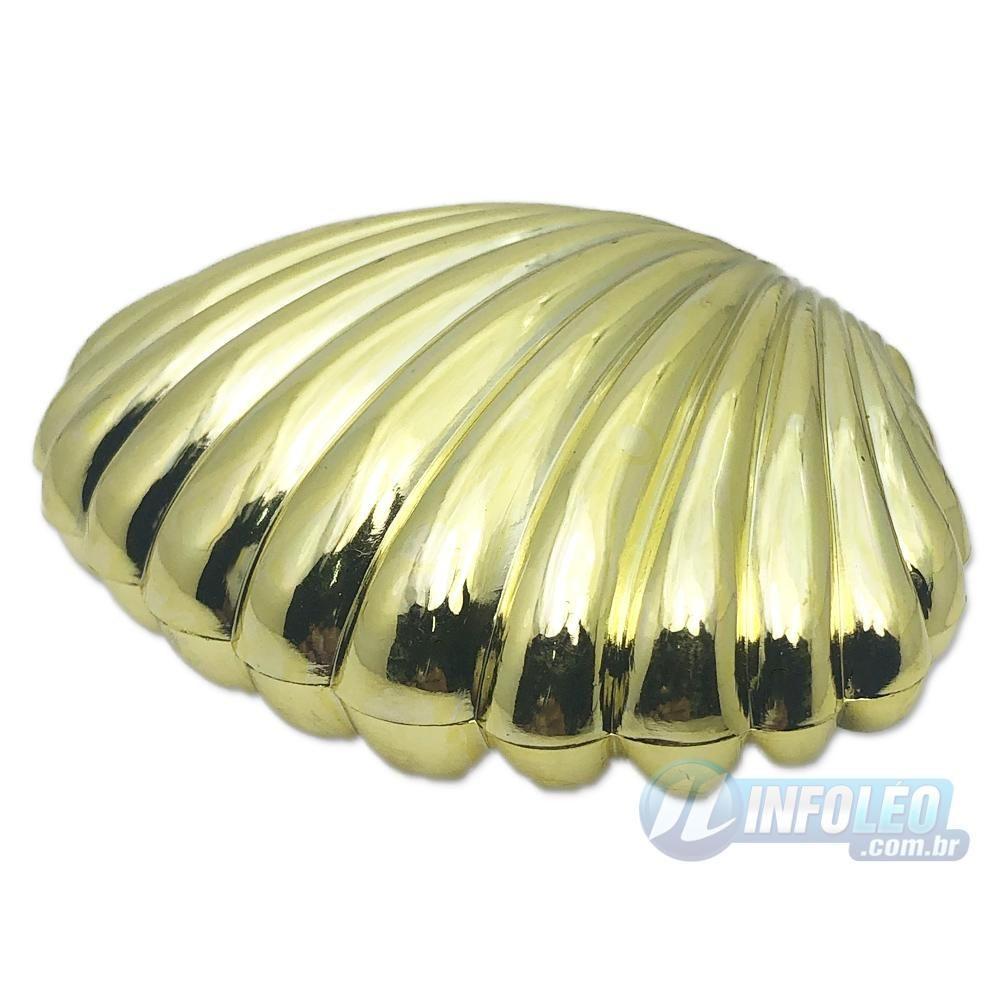 Concha Plástica Dourada 9x3,5x6cm