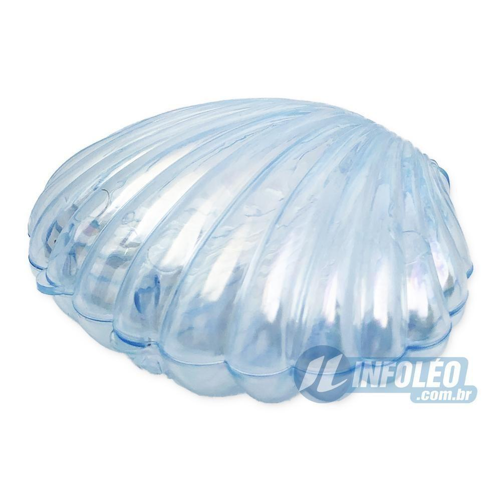 Concha Plástica Furta-Cor Azul Tranparente 8,5x6,5x3,5cm