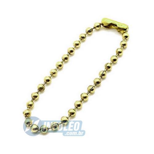 Correntinha de Bolinhas 10cm Dourada - 10 unidades