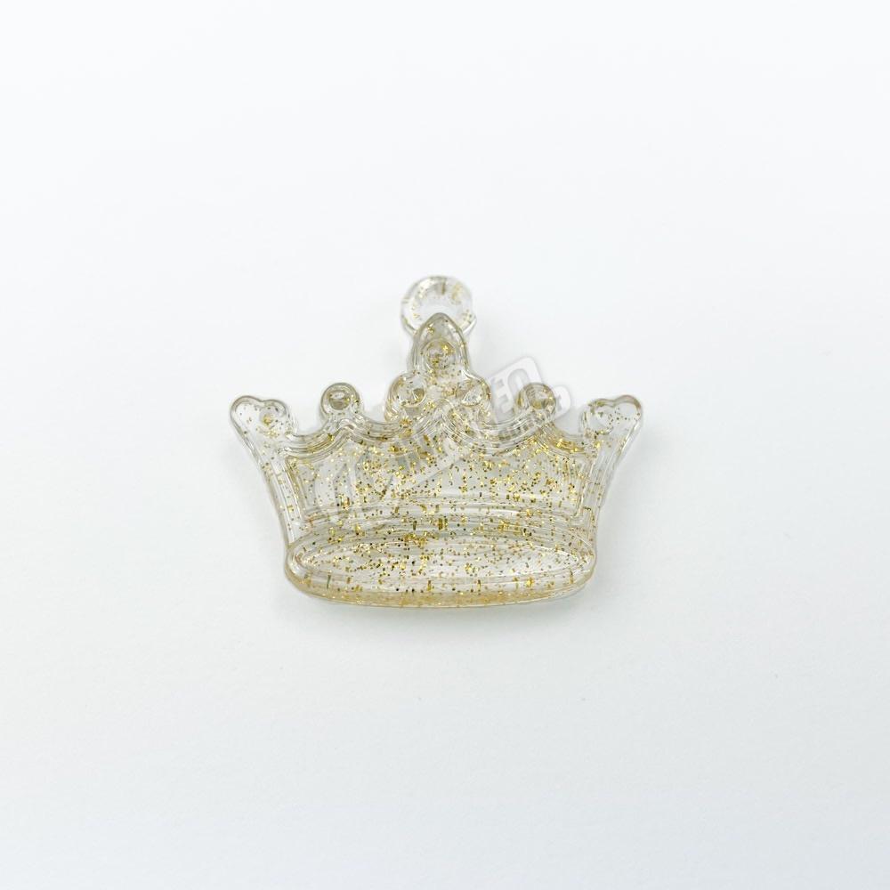 Enfeite Acrílico Coroa Amarela Glitter - 5 unidades