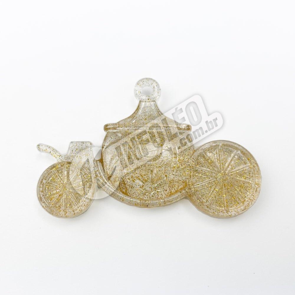 Enfeite Acrílico Mini Carruagem Amarela Glitter - unidade
