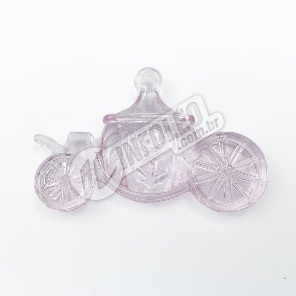 Enfeite Acrílico Mini Carruagem Rosa - unidade