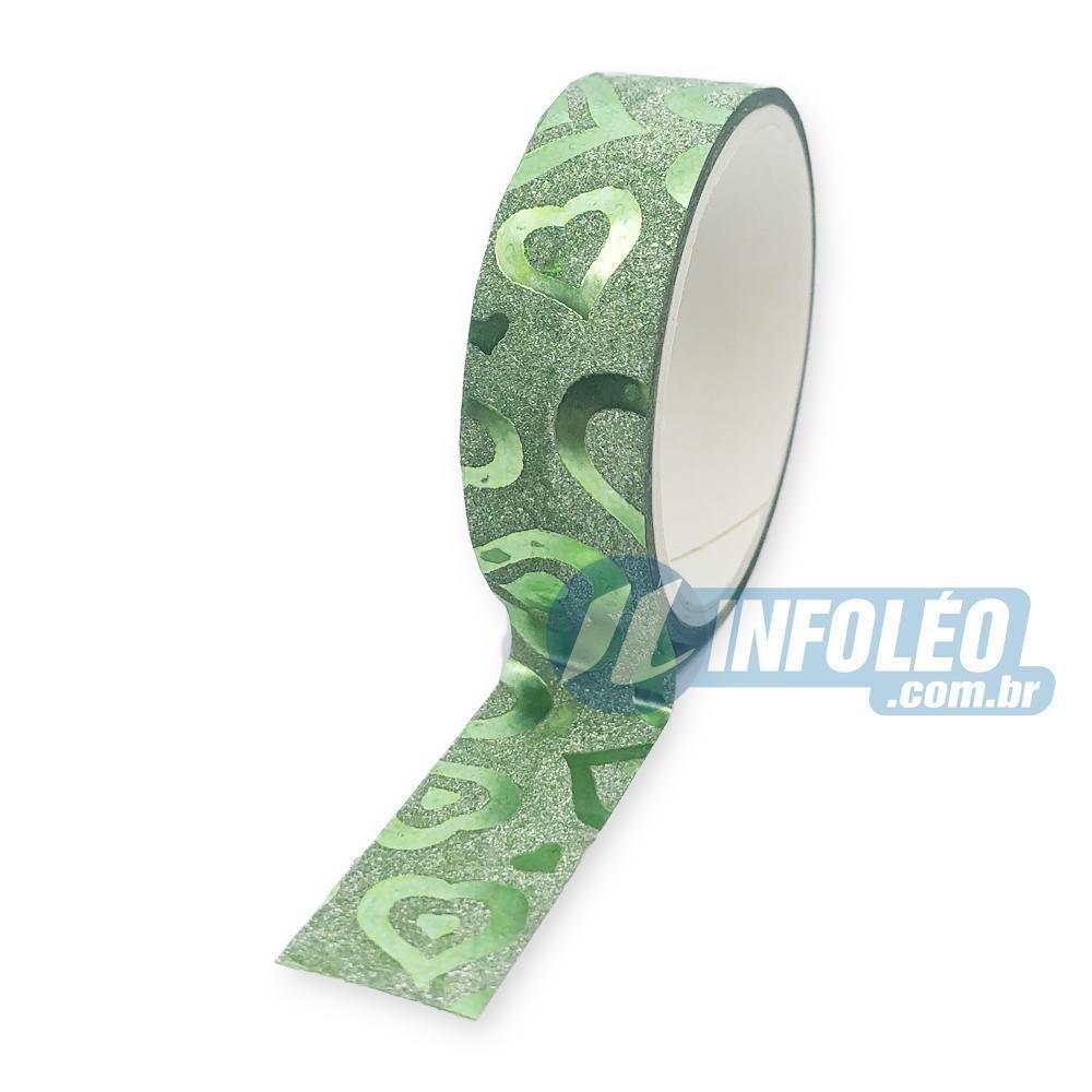Fita Adesiva Verde Corações Glitter Washi Tape 1,5x5MT