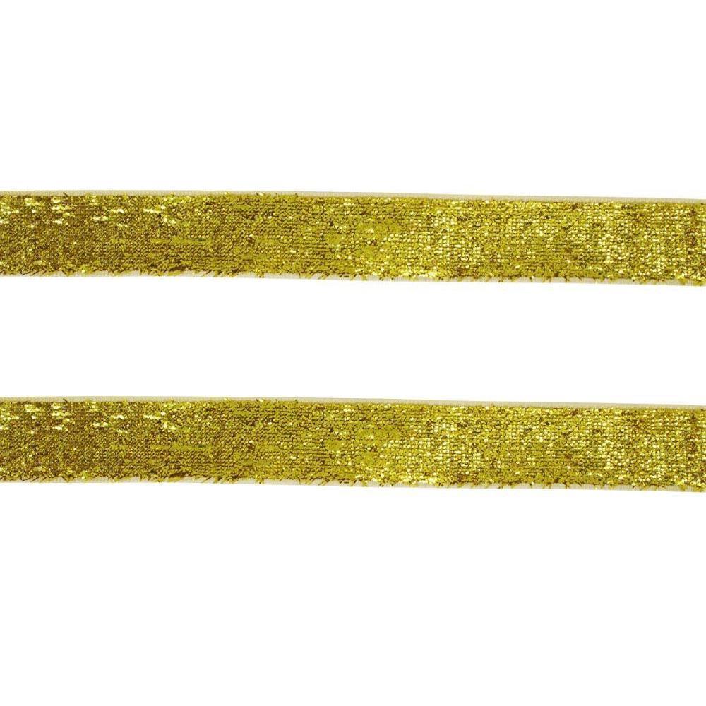 Fita Sintetica C/ Brilho Dourado 10MMx2MT
