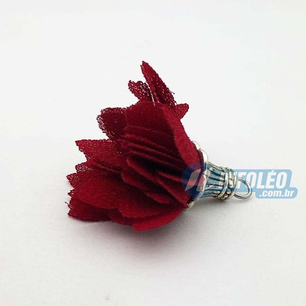 Flor com Pingente 4cm Vermelho - 2 unidades