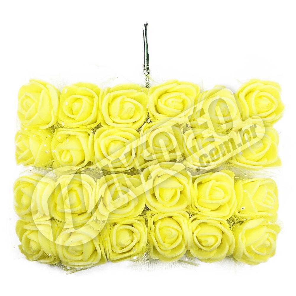 Flor de EVA Amarelo C/ Organza Decorada - 24 unidades