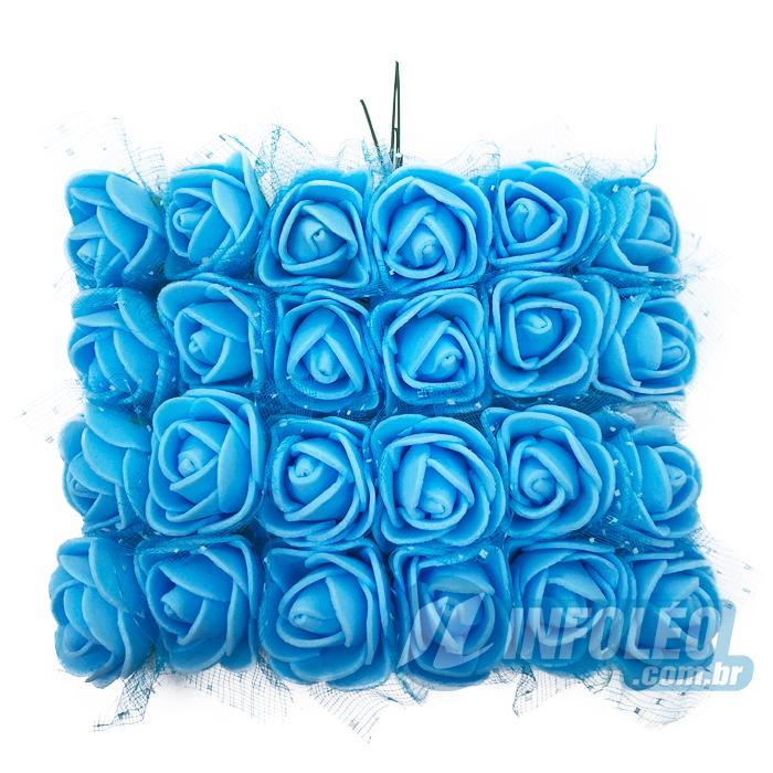 Flor de EVA Azul C/ Organza Decorada MC0035 - 24 unidades