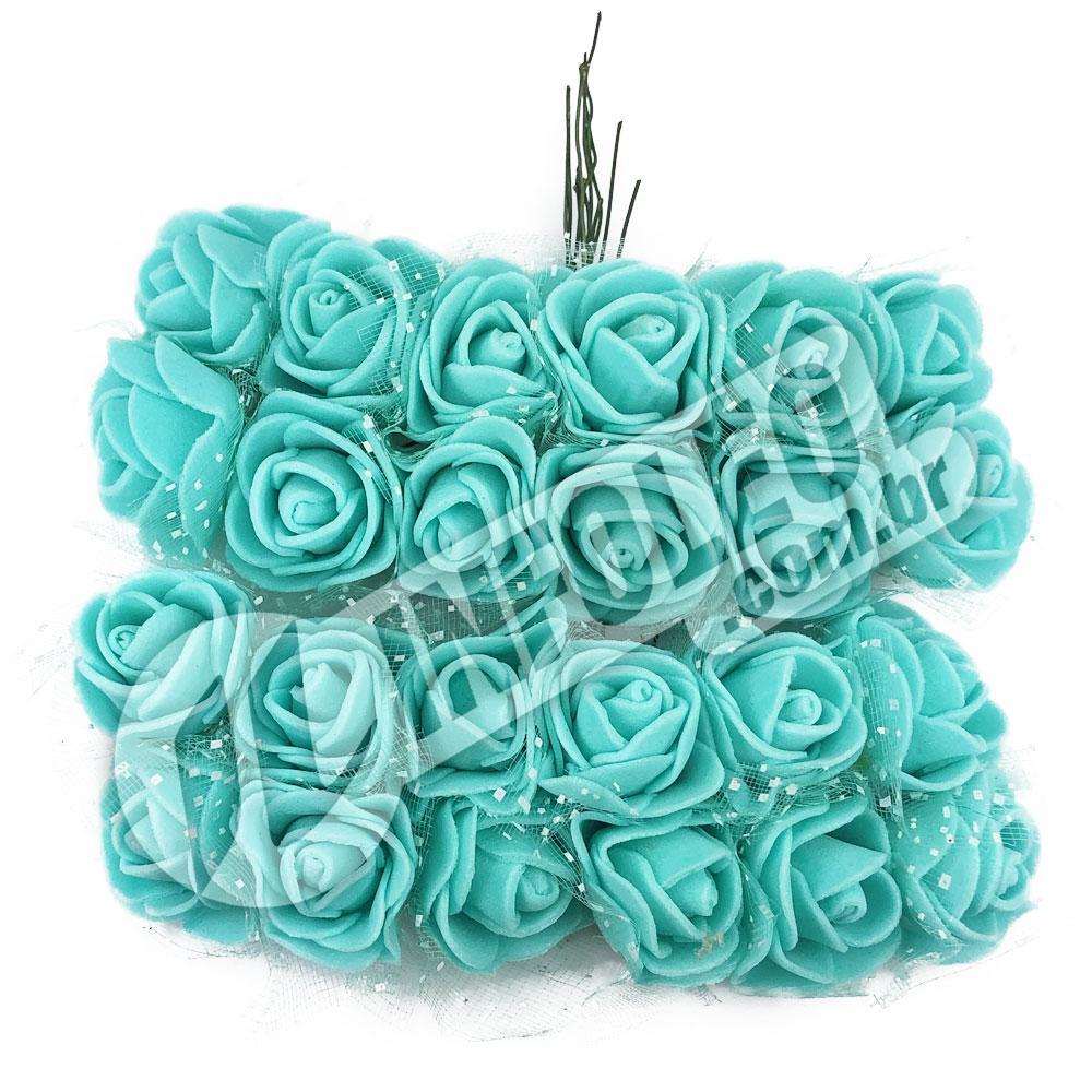 Flor de EVA Azul Turquesa C/ Organza Decorada - 24 unidades