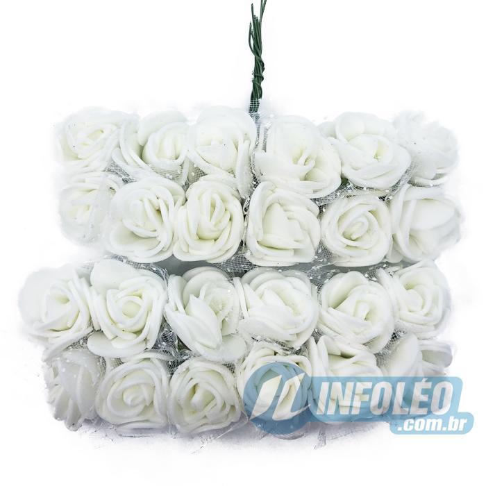 Flor de EVA Branco C/ Organza Decorada MC0037 - 24 unidades