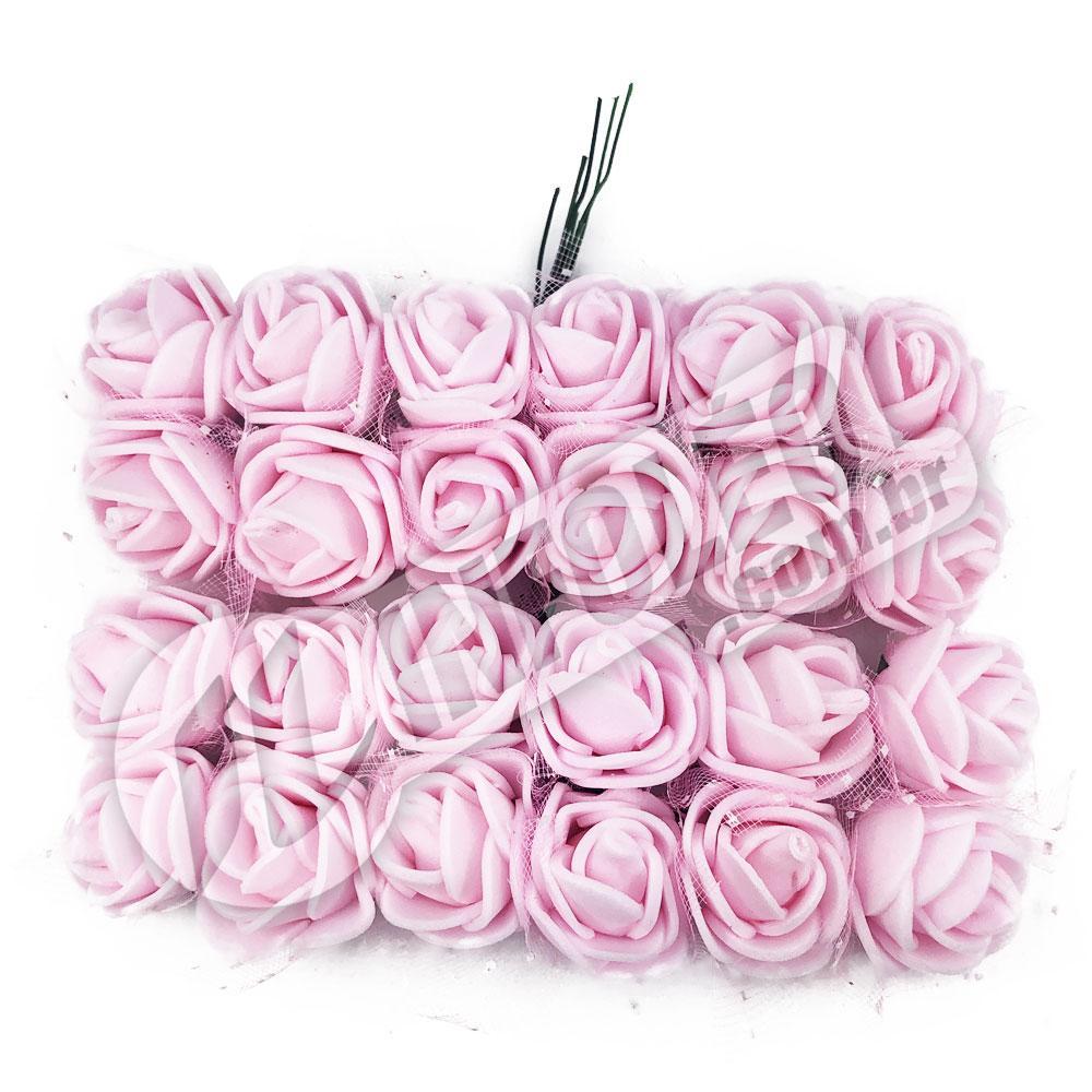 Flor de EVA Rosa Bebê C/ Organza Decorada - 24 unidades