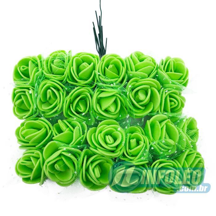 Flor de EVA Verde C/ Organza Decorada MC0036 - 24 unidades