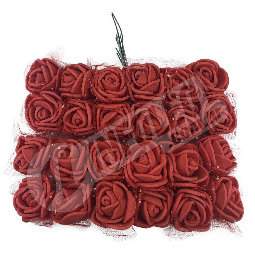 Flor de EVA Vermelho C/ Organza Decorada - 24 unidades