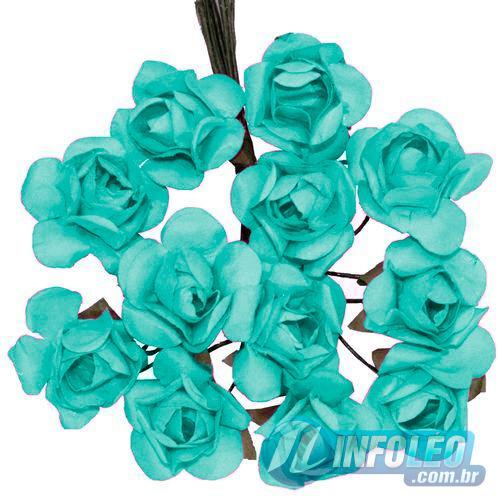 Flor de Papel Azul Tiffany - 72 unidades