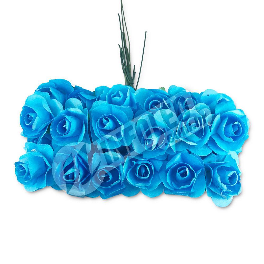 Flor de Papel Azul Turquesa - 72 unidades