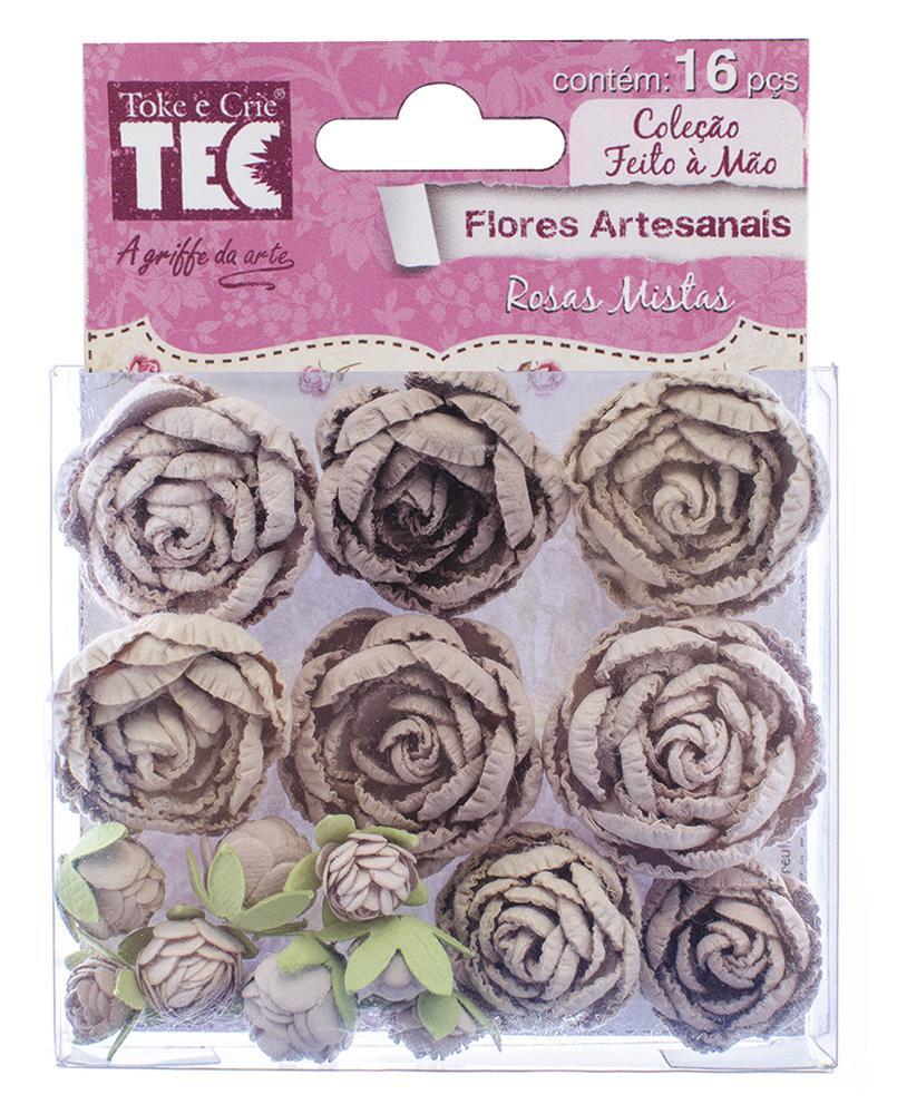 Flores de Papel Artesanais Rosas Mistas Sépia Toke e Crie - 16958 - FLOR115