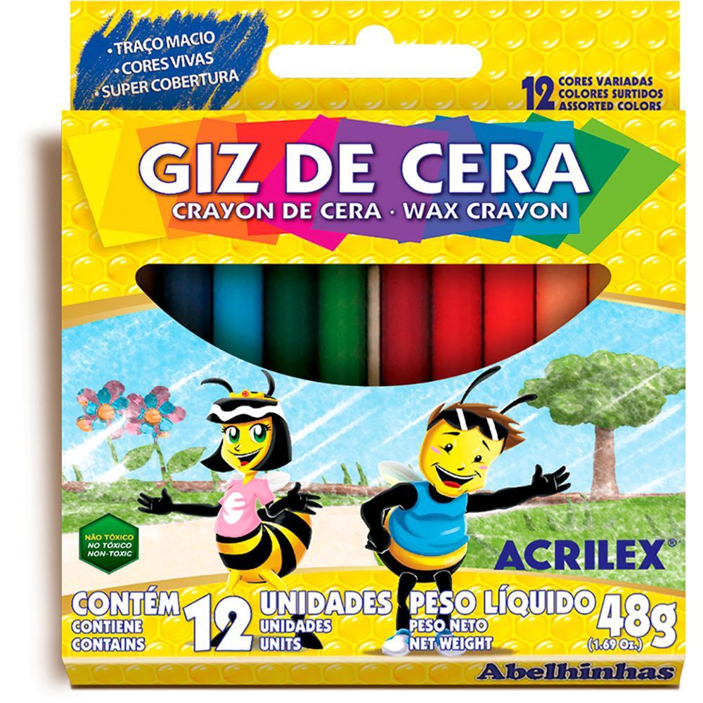 Giz de Cera Acrilex 12 cores 48g Unitário - 09012