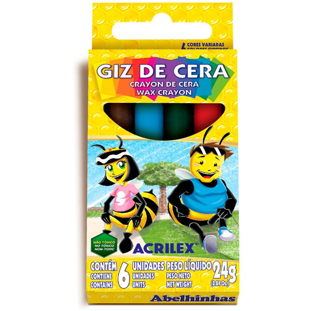 Giz de Cera Acrilex 6 cores 24g Unitário - 09006