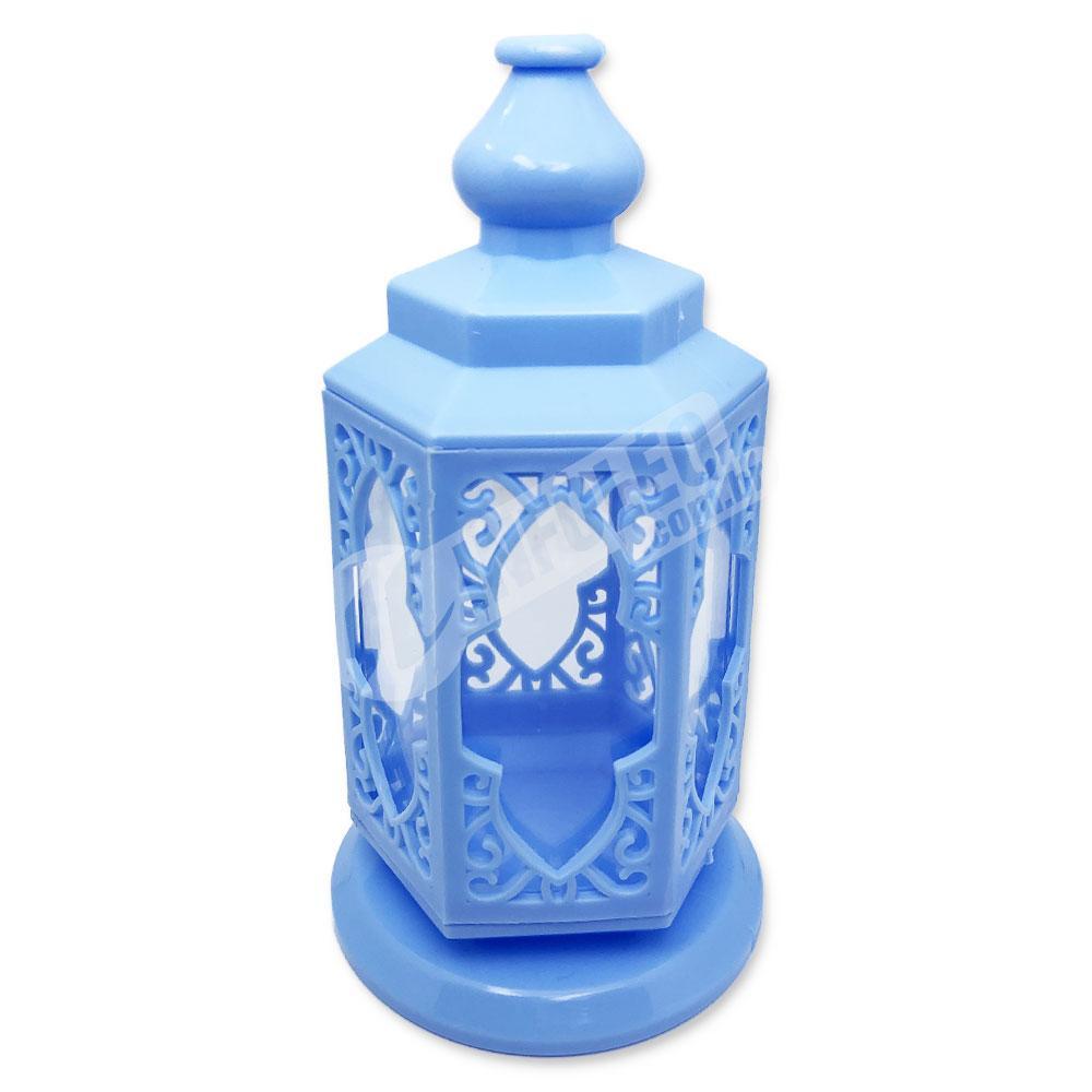 Lanterna Plástico Azul C/ Acrilico 8x15cm - Unidade