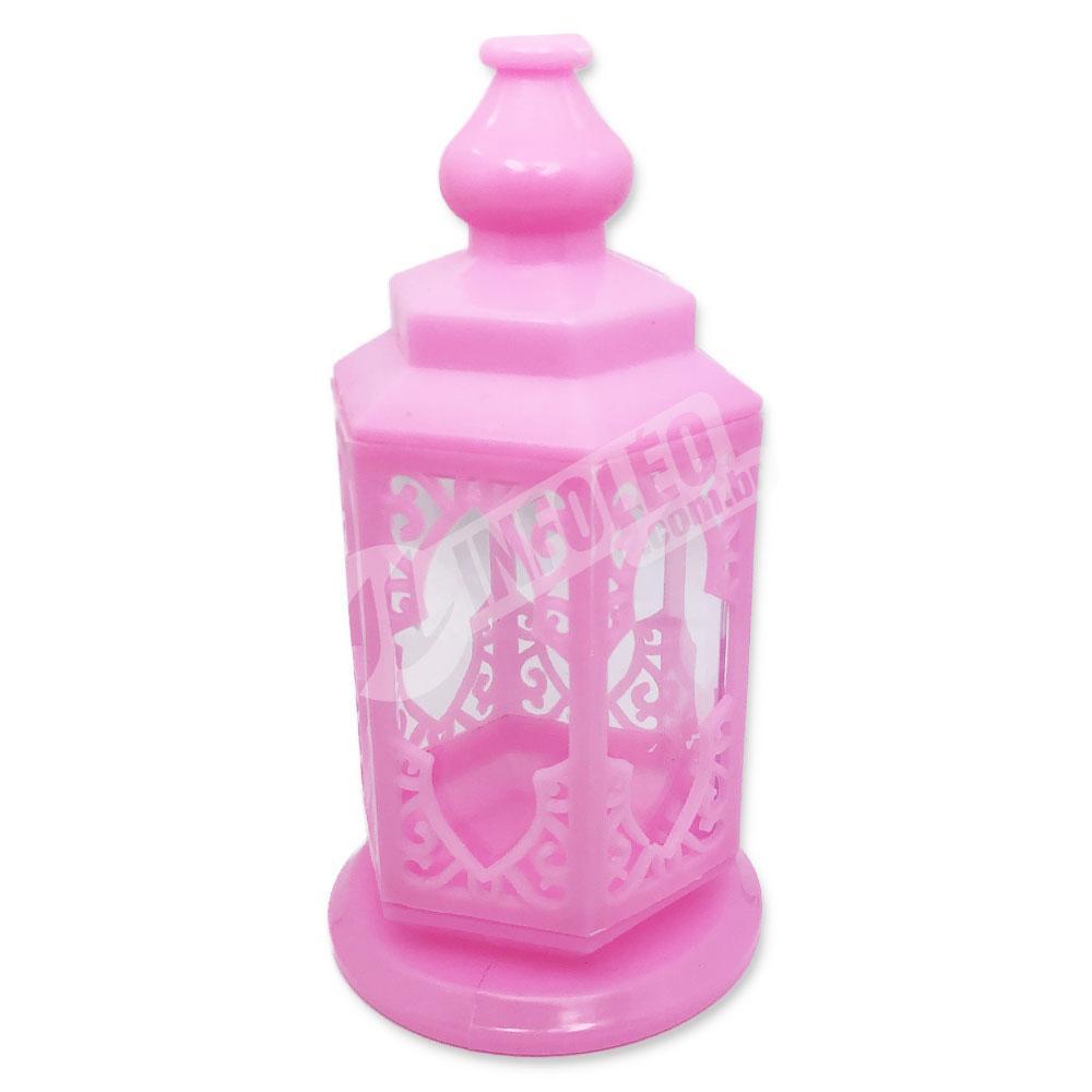 Lanterna Plástico Rosa C/ Acrilico 8x15cm - Unidade