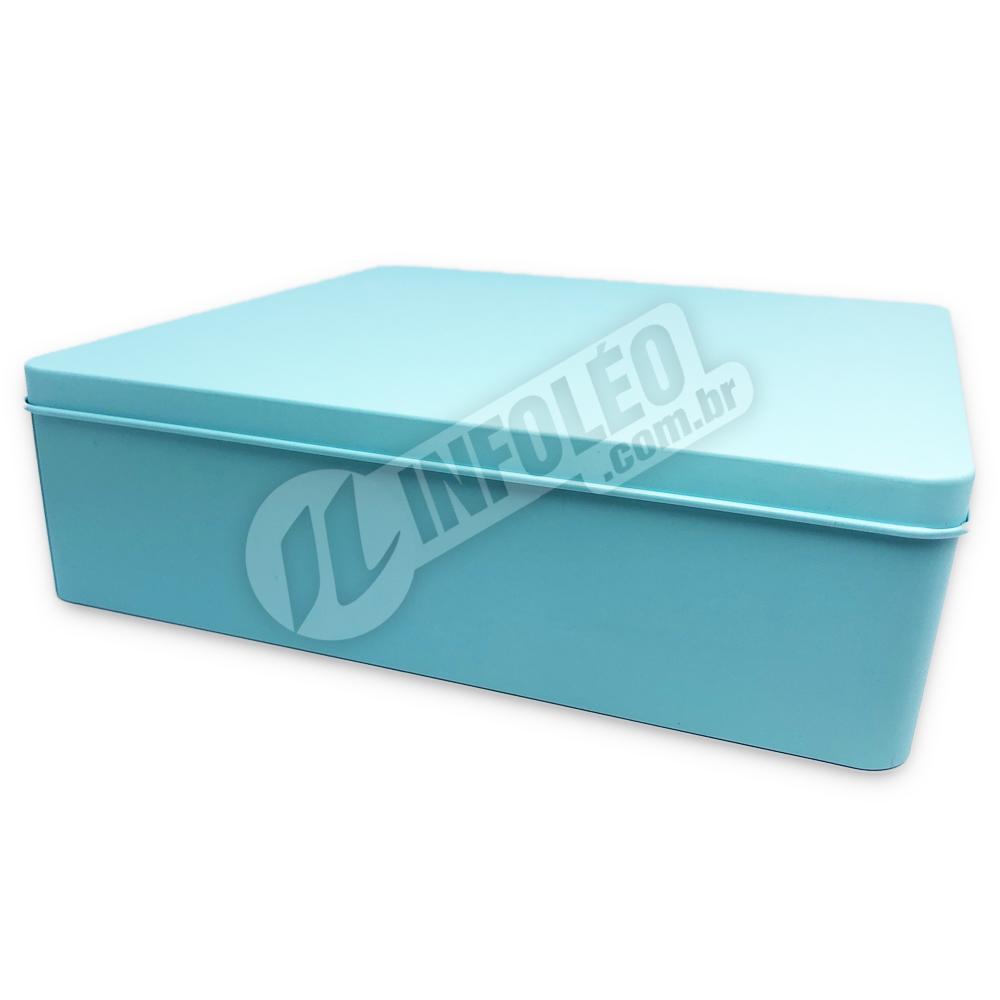 Lata de Metal Quadrada 19,5x19,5x5,5cm Azul Tiffany