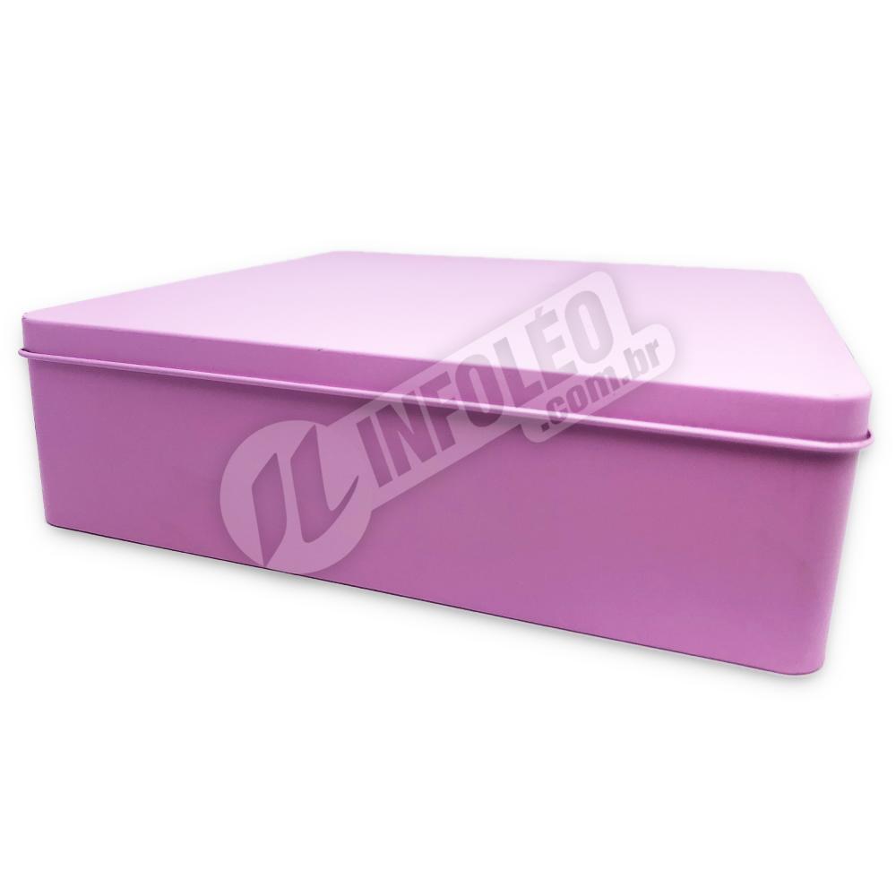 Lata de Metal Quadrada 19,5x19,5x5,5cm Rosa